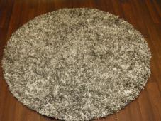 SHAGGYS NEW 120X120CM CIRCLE RUGS WOVEN BACK SILVER/OFF WHITE LOVLEY THICK